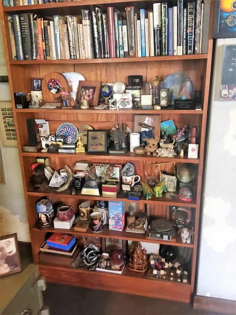 Shelves of trinkets and mementos in Arthur C. Clarke's home in Colombo, Sri Lanka