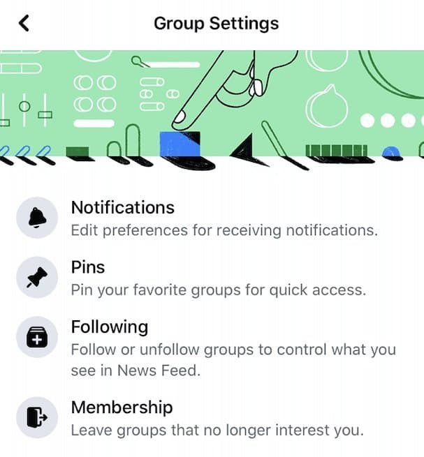 Group settings on Facebook